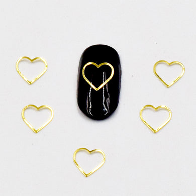 100psc 3D DIY Nails Art Decorations,gold and silver heart-shaped