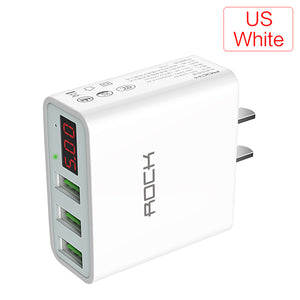 LED Display 3 USB Charger, ROCK Universal Mobile Phone USB Charger Fast Charging MAX 2.4