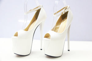 Ultra High Heels 16cm/19cm/22cm Patent Leather Sexy Shoes Peep Toe Women's Shoes