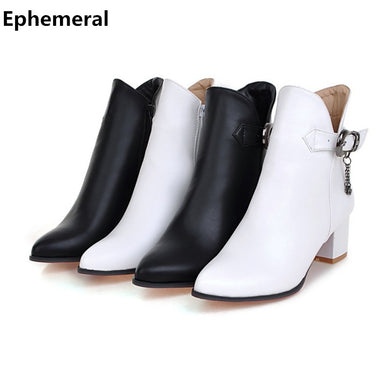 boots ankle high heels pointed toe botas zapatos mujer with buckle zipper shoes