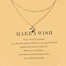 Golden wish necklace with card anchor Pendant Short Chain