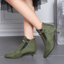 botas femininas de inverno with buckle pointed toe bootie winter fur