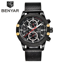 Sport Chronograph Fashion Watches Men Mesh & Rubber Band Waterproof Luxury