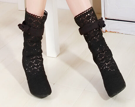 Boots High Heels Hollow Out Knee High Boots Gladiator Sandals Sexy