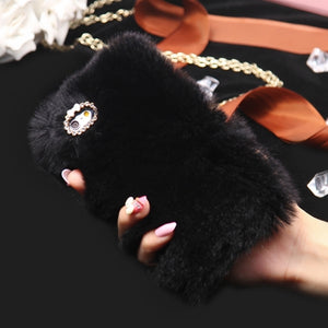 For iPhone 6 6s 7 Plus 5s 5 Case Genuine Rabbit Fluffy Fur Cover Cases For Samsung Galaxy S7 J7 2016 Note 4