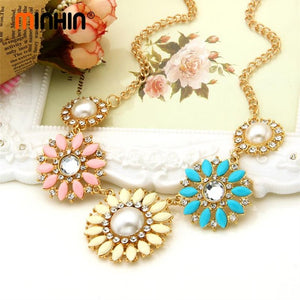 New Popular 8 Colors Multicolor Big Pendant Clavicle Chain Necklace