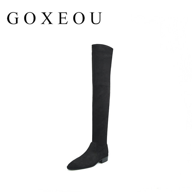 2018 New Fashion Women Boots High Knee Boots Square Heel Round Toe Winner Party Office