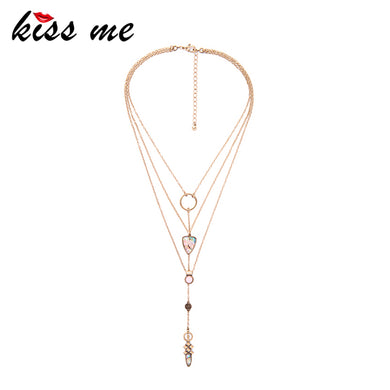 Layer Necklace Gold Color Alloy Chain Geometric Pendant Long Necklace