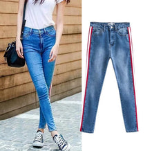 Jeans Woman Side Striped Patchwork Skinny Casual Pants Brief Slim