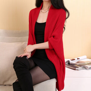 Batwing Cardigans Shawl Knit Jacket Woolen Coat Sweater