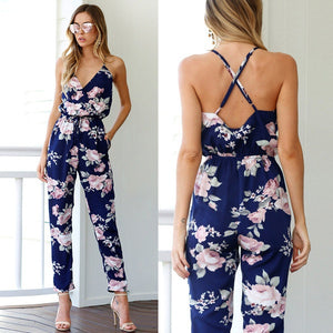 2018 Sexy V Neck Women Jumpsuit Long Pants Floral Printed Summer Beach