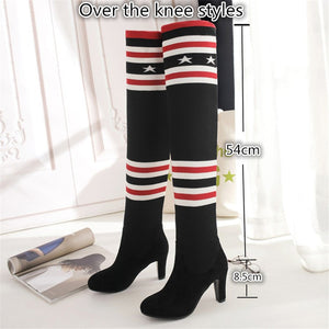 Elegant Over The Knee High Boots Hide Increase In Wedge Heels Long Sock Boots Stretch Slim