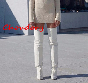 Boots Kim Kardashian White Microfiber Bootie Thin High Heel Over the Knee Boots