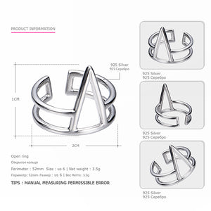 Ring Real 925 Sterling Silver Trendy Geometric Rings Set Punk Style Fine