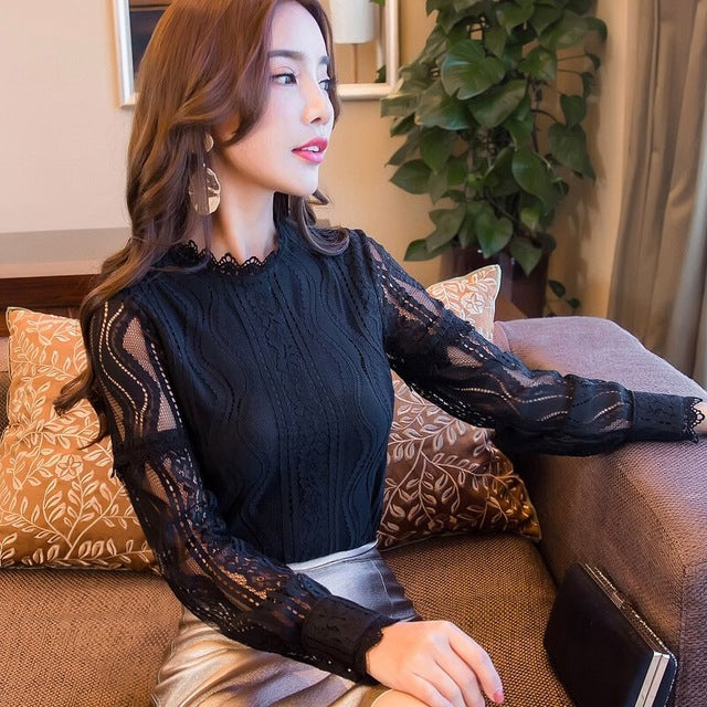 2018 New Fashion Spring Lace Blouses And Shirts Women Long Sleeve Hollow Out Blusas Ladies
