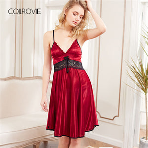2018 New Fashion Red Sleeveless Lace Panel Slip Nightgowns
