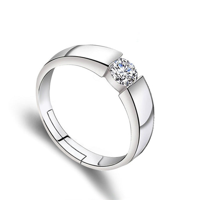 Crystal CZ Stone Wedding Engagement Rings for Couples Stainless Steel Adjustable Ring for women men