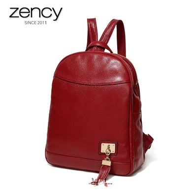 2018 Genuine Leather Fashion Female Travel Backpacks USB Charger Laptop Bags Girl's Casual