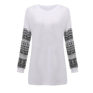 Shirt O Neck Printed Long Sleeve Lady Pullover Girl Hoodies Loose Casual