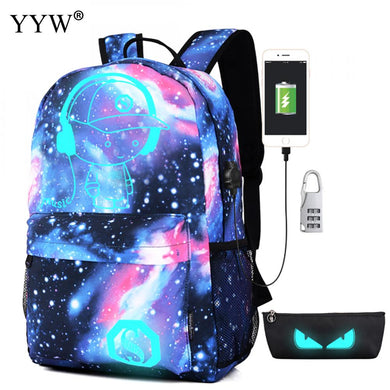 Men Backpack With USB Charging Bags For Women Gothic Mochila Escolar Luminous
