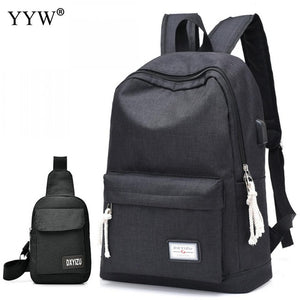 Oxford Easy Matching Men'S Backpack Korean Simple Female Backpack Student Travel Computer