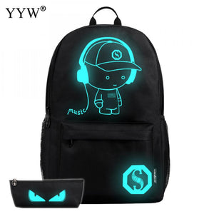 Casual Unisex Backpack Top Selling Luminated School Bags With USB Charging