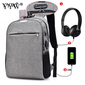 Laptop backpack USB charging earphone hole password lock business bag student 2018
