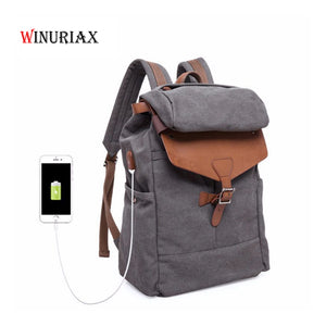 2018 New Men backpack with USB external charging bag Vintage canvas backpack male casual travel school