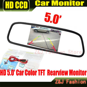 "HD Monitor 5"" Color TFT LCD Car Rearview Mirror Monitor 5 inch 16:9 screen DC 12V"