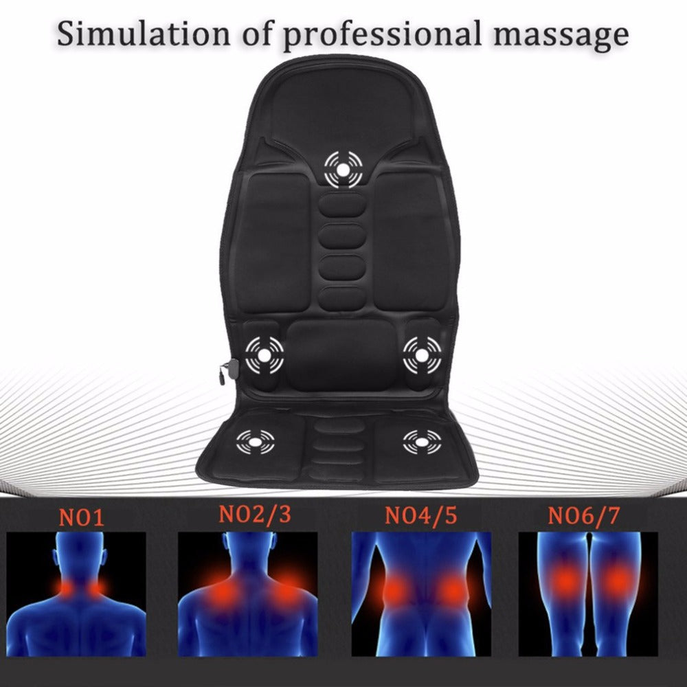 Car Seat support Car Household Office Full Body Massage Cushion Lumbar Heat Vibration