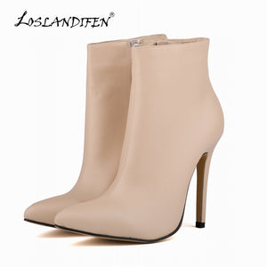 Pointed Toe Matte PU Leather High Heels Ladies Work  Autumn Winter Ankle Boots