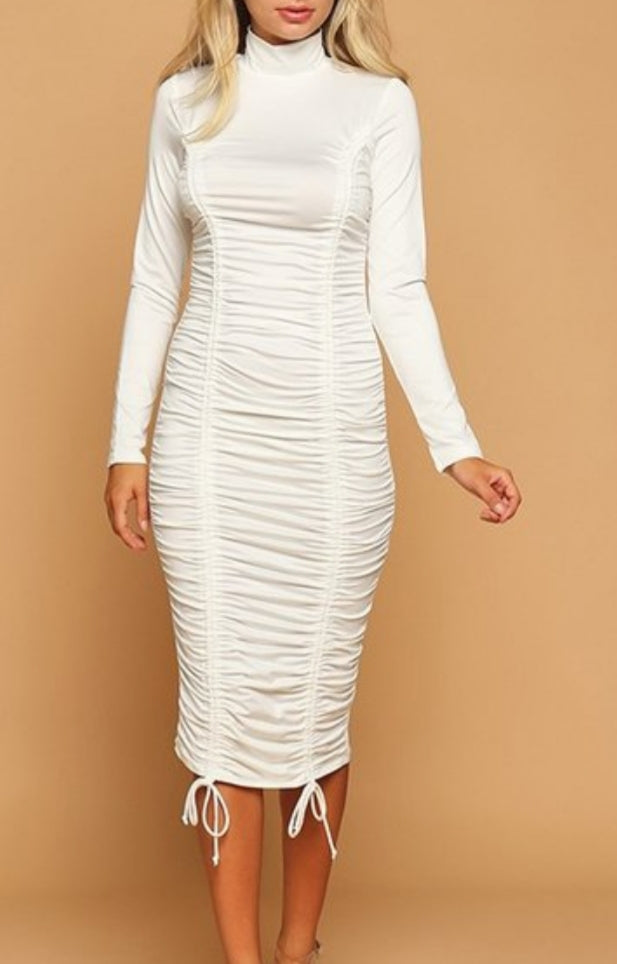 Goddess Mock Neck Midi Dress