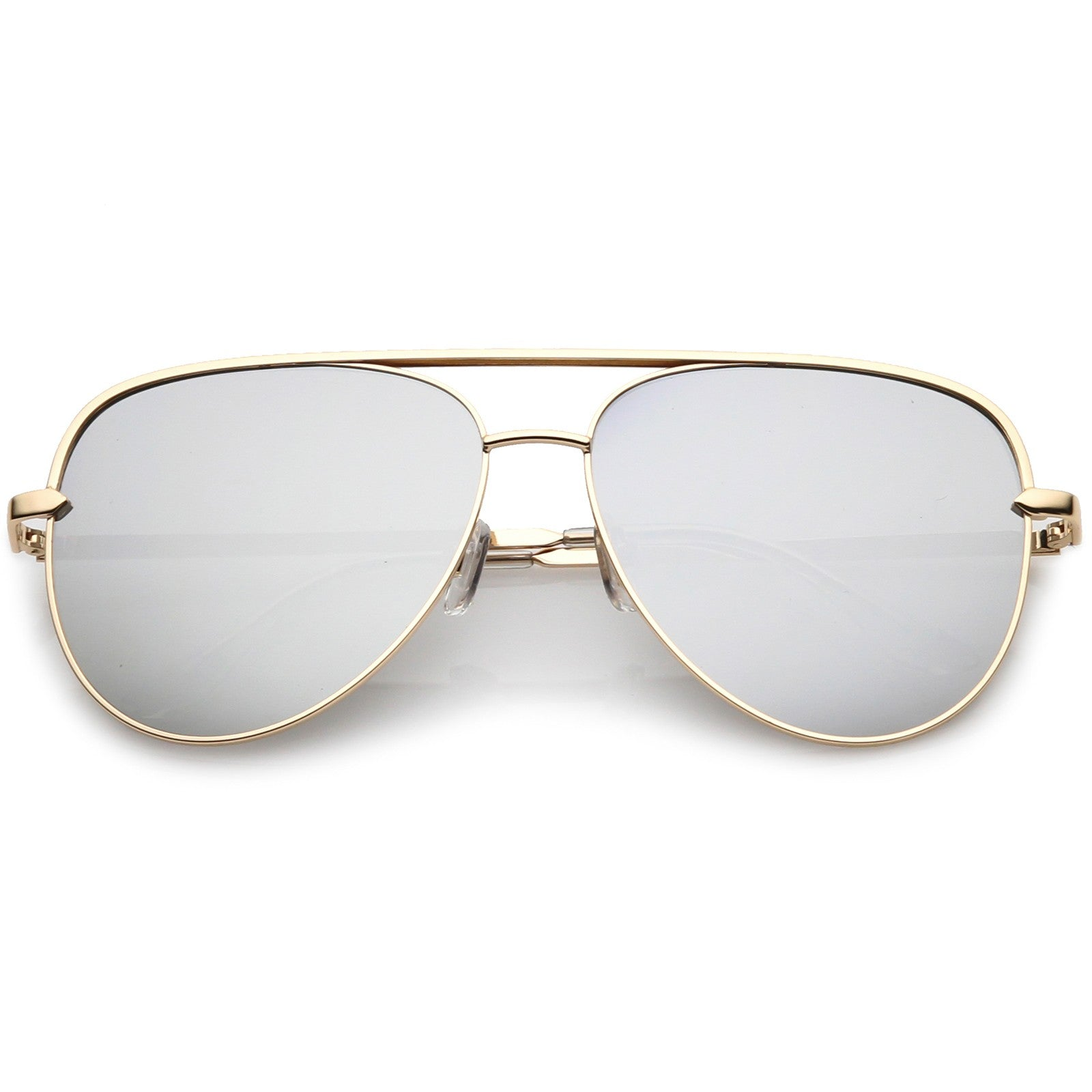 4063166aa ... Classic Oversize Metal Aviator Sunglasses With Colored Mirror Lens And  Crossbar 60mm (Black / Silver ...