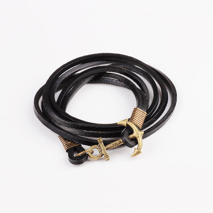 Anchor Leather Bracelet
