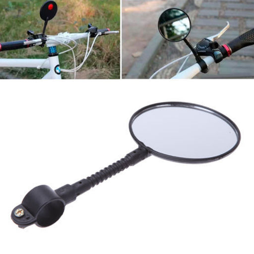 Quality Bike Bicycle Handlebar Flexible Rear Back View Rearview Mirror Black Cycling Mirror Glass #ES