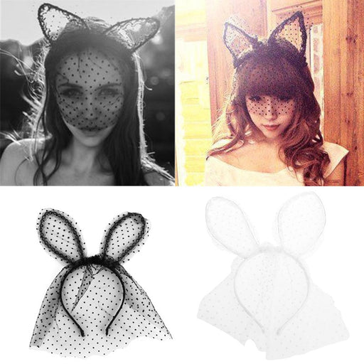 Costume Party Headband Sexy Lace Veil Mask Bunny Dot Cat Ears Hairband Headdress