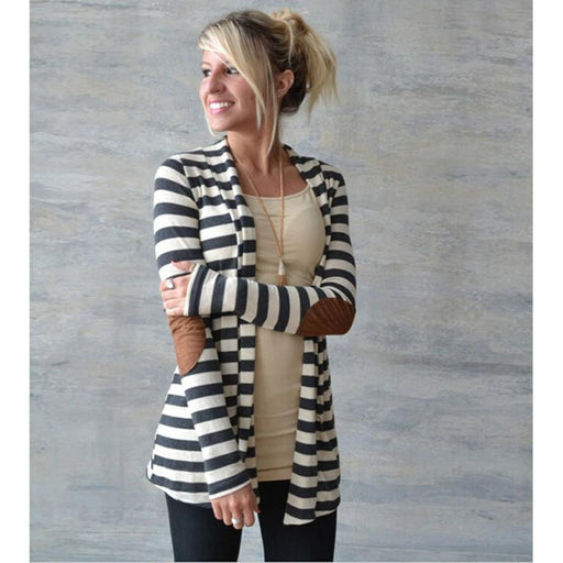 Trench Coat Fashion Women's Trench Elegant Coats Casual Long Sleeve Striped Cardigans Patchwork Outwear  XL #YYE