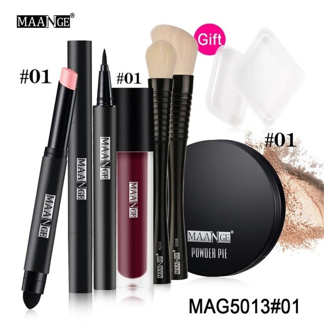 MAANGE Makeup Set 6 Pcs/Set Make Up Tools Concealer Powder Lip Glaze Eyeliner Liquid Lipstick Pen Brushes Hot Sale
