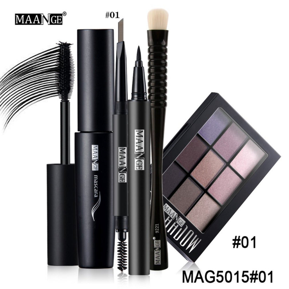 MAANGE Professional Makeup Set Kit 5 PCS/Set Make Up Tools = Eye Shadow Brush + Eyeliner + Eyebrow Pen + Mascara + Eyeshadow