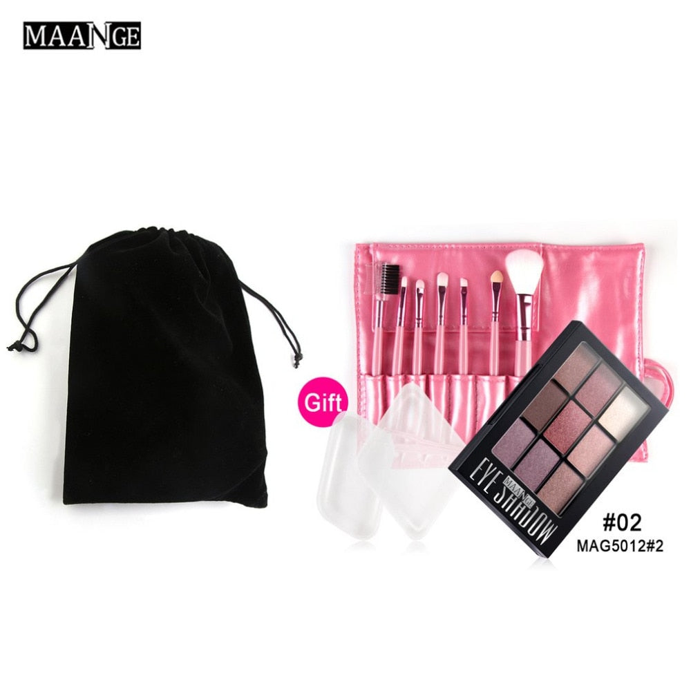 MAANGE Professional Makeup Set 7pcs Makeup Brush + 9 Colors Long Lasting Eyeshadow Palette + 2pcs Puff Combination Set Tool Kit