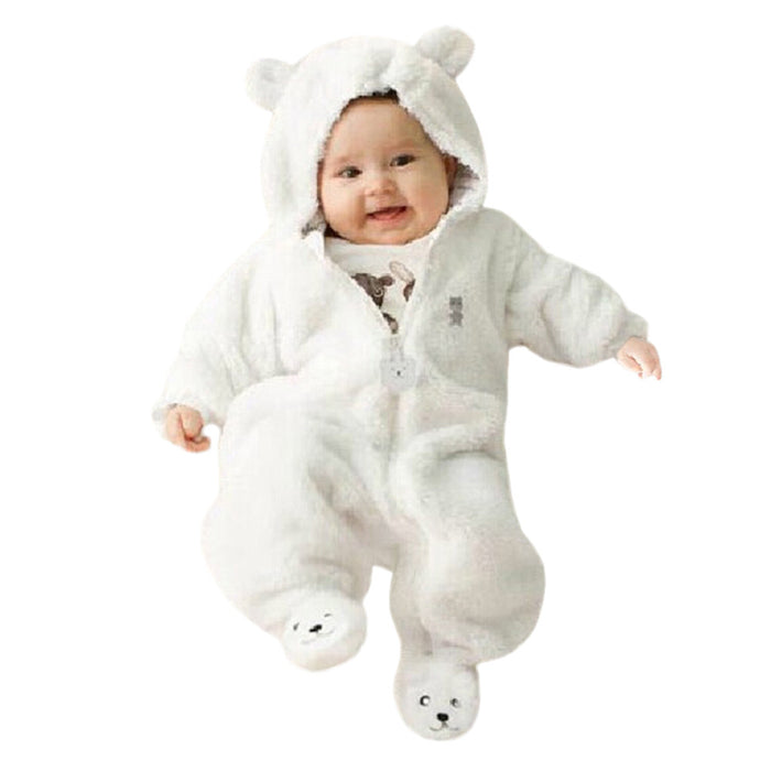 Autumn Winter Baby Rompers Bear style baby coral fleece Hoodies Jumpsuit baby girls boys romper newborn toddle clothing