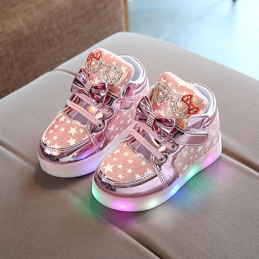 Kids Casual Lighted Shoes Girls Glowing Sneakers Children Star Print Shoes With Led Light Baby Girl Lovely Boots