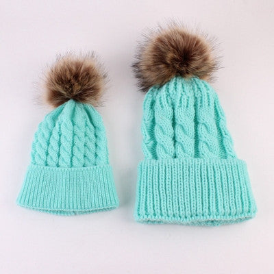 Newborn Baby Hats for Girls Winter Knitted Crochet Mom and Baby Caps for Boy 2 Pcs Baby Boy Hat bonnet chapeau garcon