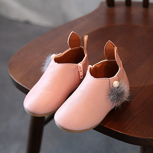 Toddler Baby Girls Cute Rabbit Ears Ball Sneaker Boots Zipper Casual Shoes Rubber Boots Baby Shoes Girls mini melissa sneakers