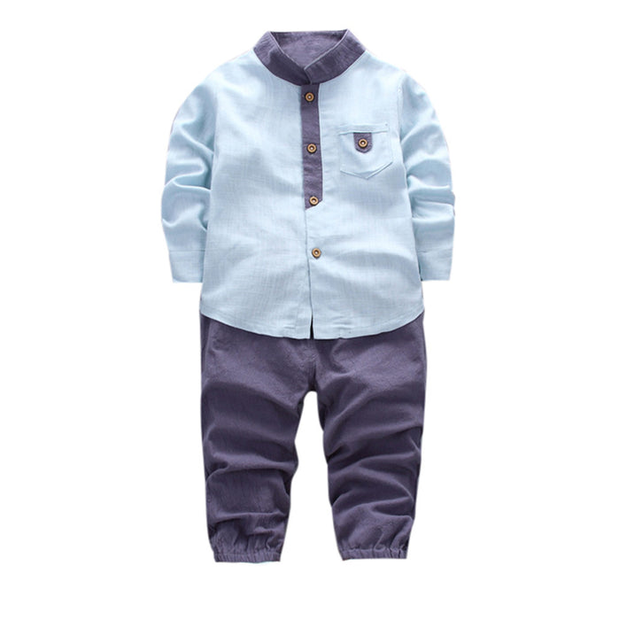 2pcs Toddler Baby Boys Kids Shirt Tops Long Pants Clothes Gentleman Style boys Long sleeve Autumn Outfits Set drop ship