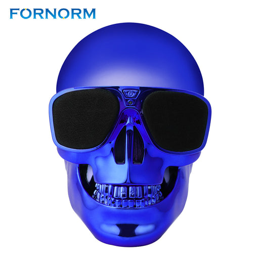 Fornorm Portable Skull Shape Bluetooth Speaker With Microphone Rechargeable Stereo Music Player For Computer Iphone Smartphone