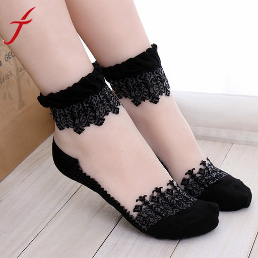 Women Lace Ruffle Ankle Sock Hot Sale Ultrathin Transparent Beautiful Crystal Lace Elastic Short Ankle Length BK Transparent