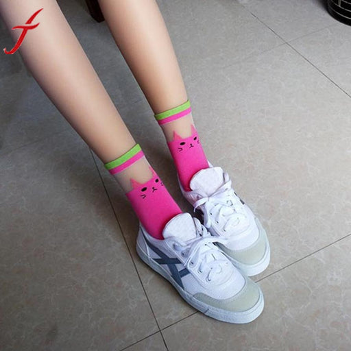 Funny Socks Womens Casual Cartoon Character Patchwork Sokken Srtiped Above-Ankle Cotton Printed Cat Socks calcetines mujer