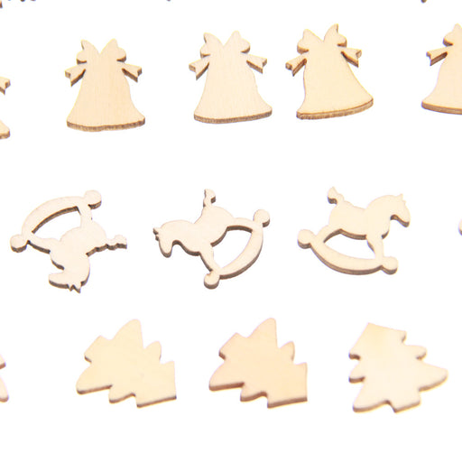 30Pcs 5 Patterns Designs 20mm Natural Wood Christmas Ornaments Reindeer Tree Snow Flakes Rocking Horse Bell for Xmas Decor