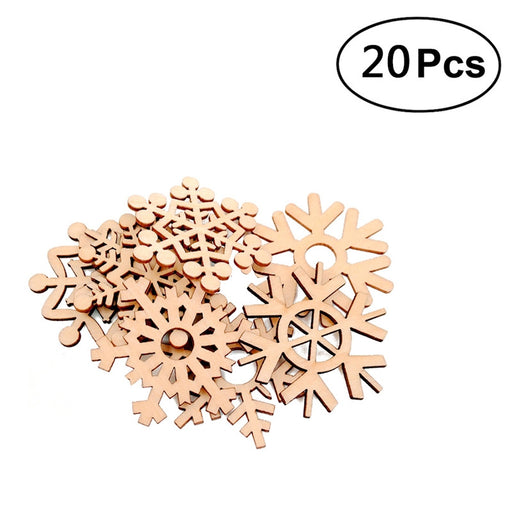 20pcs Christmas Wooden Snowflakes Embellishment Xmas Tree Ornaments Decor Hanging Ornament